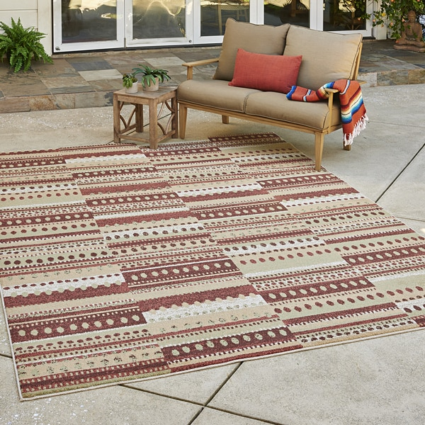 Avenue33 Prescott Indoor/Outdoor Rust/Brown Area Rug by Gertmenian - 7'10 x 10'