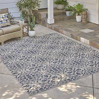 Avenue33 Marengo Indoor/Outdoor Ivory/Blue Area Rug by Gertmenian - 7'10 x 10'