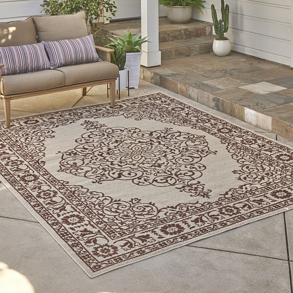 """Avenue33 Bolton Indoor/Outdoor Ivory/Rust Area Rug by Gertmenian (7'10"""" x 10') - 7'10 x 10'"""
