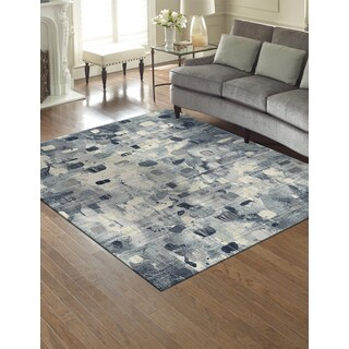 """Avenue 33 Belmore Indoor-Outdoor Ivory/Blue Area Rug by Gertmenian (5'3"""" x 7')"""