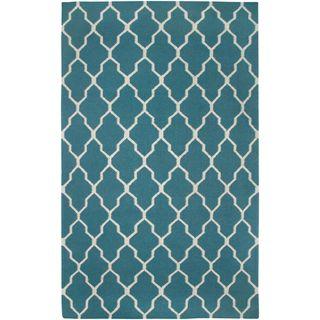 Handmade Flatweave Swing Blue Teal Wool Trellis Area Rug (2' x 3')