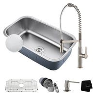 """KRAUS 31½"""" Kitchen Sink with Commercial Style Faucet & Soap Dispenser"""