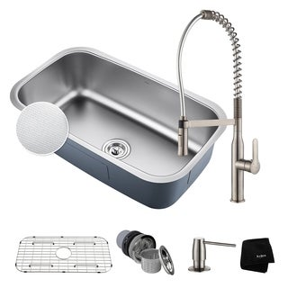 KRAUS 31-1/2 In Undermount Single Bowl Stainless Steel Kitchen Sink, KPF-1640 Nola Commercial Pull Down Faucet Dispenser