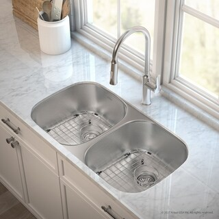 "KRAUS 32"" Kitchen Sink and Nola Pull Down Faucet with Soap Dispenser"