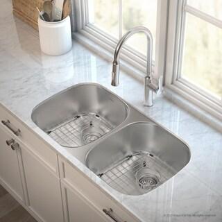 KRAUS 32 Inch Undermount Double Bowl Stainless Steel Kitchen Sink, KPF-1630 Nola Pull Down Faucet, Soap Dispenser