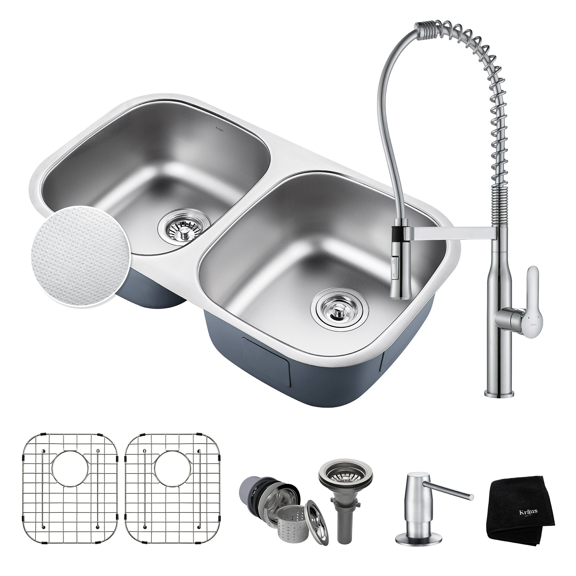 Charmant Shop KRAUS 32 Inch Undermount Double Bowl Stainless Steel Kitchen Sink,  KPF 1640 Nola Commercial Pull Down Faucet, Dispenser   Free Shipping Today  ...