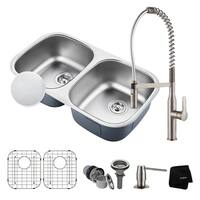 KRAUS 32 Inch Undermount Double Bowl Stainless Steel Kitchen Sink, KPF-1640 Nola Commercial Pull Down Faucet, Dispenser