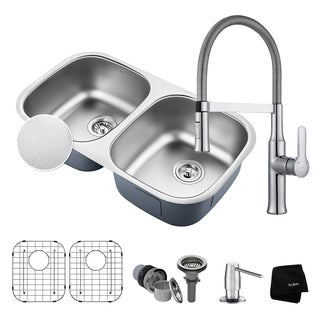 "KRAUS 32"" Kitchen Sink & Nola Commercial Faucet with Soap Dispenser"