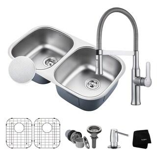"KRAUS 32"" Kitchen Sink & Nola Commercial Faucet with Soap Dispenser"