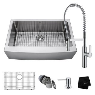 KRAUS 33 Inch Farmhouse Single Bowl Stainless Steel Kitchen Sink, KPF-1640 Nola Commercial Pull Down Faucet, Dispenser