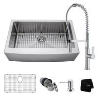 "KRAUS 33"" Farmhouse Sink with Nola Commercial Faucet & Soap Dispenser"