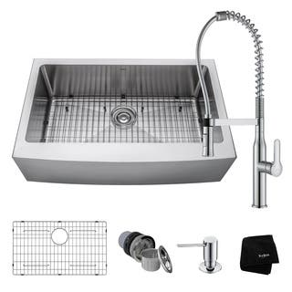 kraus 33 inch farmhouse single bowl stainless steel kitchen sink kpf 1640 nola commercial - Farmhouse Kitchen Sinks
