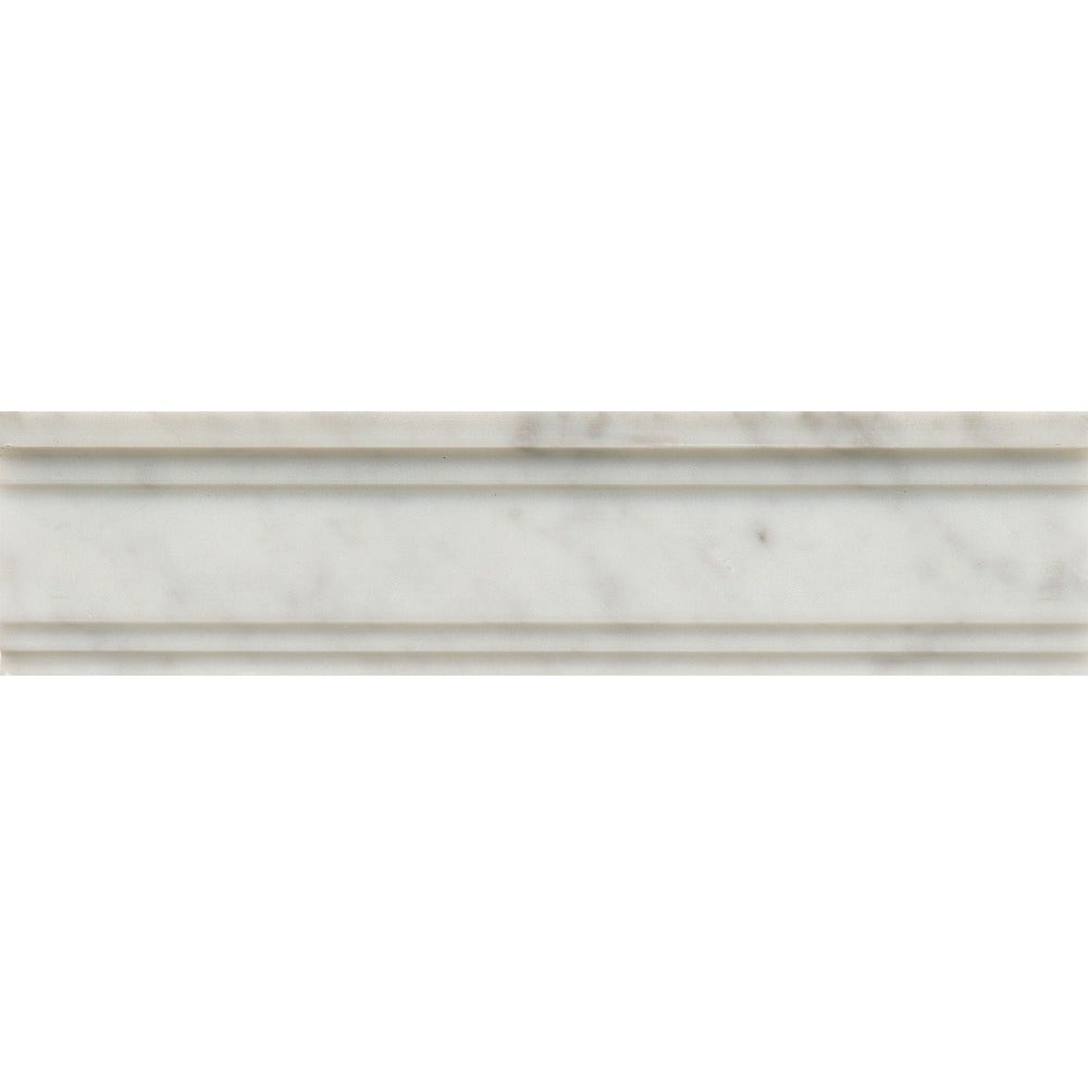 3x12 Chandra Crown Molding Honed (White)