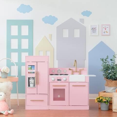 Teamson Kids - Little Chef Chelsea Modern Play Kitchen - Pink / Gold