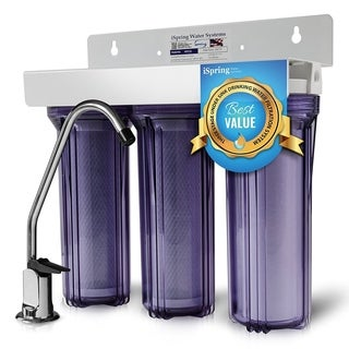 iSpring 3 Stage Under Sink Tankless Drinking Water Filter System-WCC31