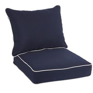 Sawyer Sunbrella Canvas Navy with Canvas Cording Indoor/ Outdoor Chair Cushion and Pillow Set (As Is Item)
