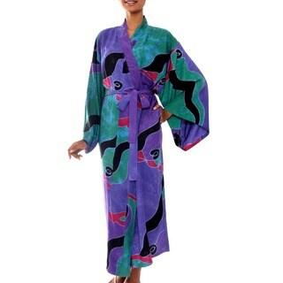 Handmade Turquoise Ocean Artisan Designer Fashion Lavender Green Purple Black Red Batik Bath (As Is Item) (Indonesia)