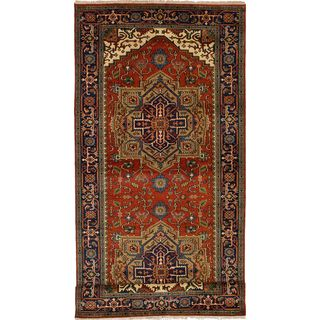 ECarpetGallery Hand-Knotted Serapi Heritage Brown Wool Rug (5'0 x 11'9)
