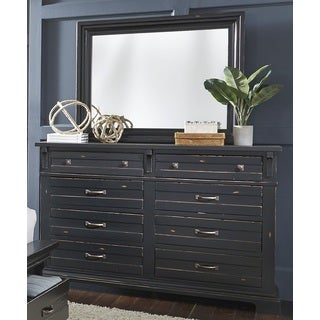 Progressive Chestnut Hill Blavk Wood Drawer Dresser and Mirror