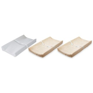 Summer Infant Contoured Changing Pad with 2 Count Plush Changing Pad Covers, Ecru