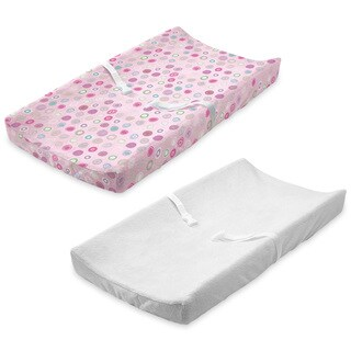 Summer Infant Ultra Plush Change Pad Cover, Pink Swirl/White, 2 Count
