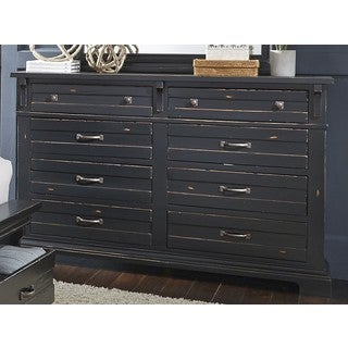 Chestnut Hill Distressed Black Pine/ Veneer 8-drawer Dresser