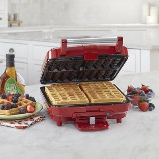 Cuisinart WAF-150R 4-Slice Belgian Waffle Maker, Stainless Steel/Red (Refurbished)