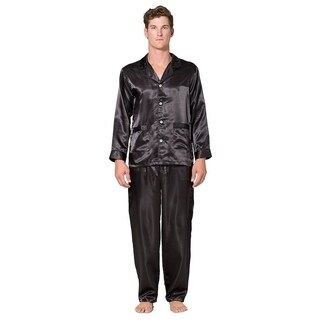 Mens solid silk 2pc pajama set (Option: L)