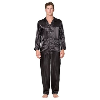 Mens solid silk 2pc pajama set