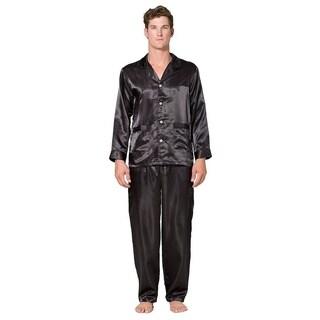 Mens solid silk 2pc pajama set