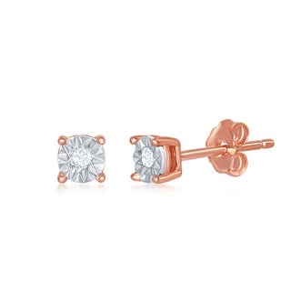 La Preciosa Sterling Silver/ Rose/Yellow Gold Plated  4MM with Center 0.2tcw Diamond Accent Stud Earrings