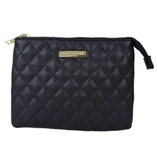 Suzy Levian Small Faux Leather Quilted Clutch Handbag