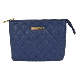 Suzy Levian Small Faux Leather Quilted Clutch Handbag (Option: Navy)
