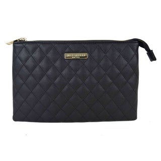 Suzy Levian Medium Faux Leather Quilted Clutch Handbag