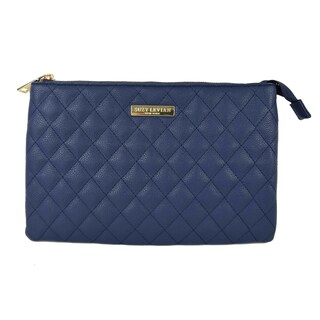 Suzy Levian Medium Faux Leather Quilted Clutch Handbag (Option: Navy)