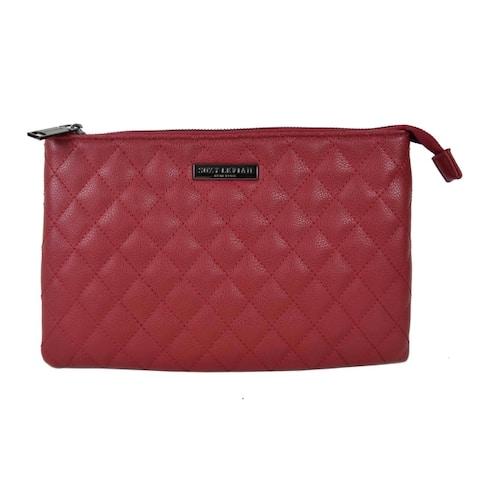 Suzy Levian Medium Faux Leather Quilted Clutch Handbag
