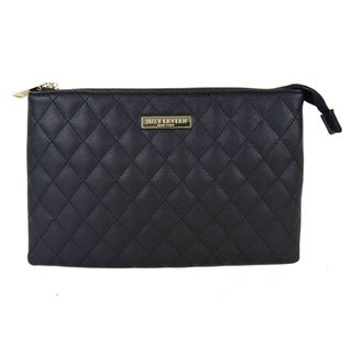 Overstock.com deals on Suzy Levian Medium Faux Leather Quilted Clutch Handbag
