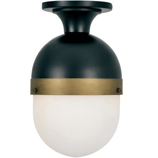 Crystorama Brian Patrick Flynn Capsule Collection 1-light Matte Black/Textured Gold Outdoor Flush Mount