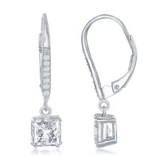 La Preciosa Sterling Silver Asscher Cut Square Shaped CZ Stones Lever Back Drop Earrings