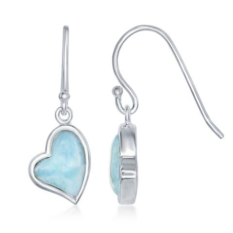 La Preciosa Sterling Silver Larimar Heart with Fish hook Drop Earrings - White