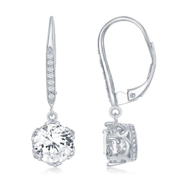 402f0b6893574 La Preciosa Sterling Silver 8MM Asscher Cut Round Shaped CZ Stones Lever  Back Earrings - White