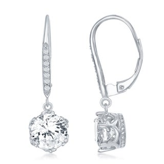 La Preciosa Sterling Silver 8MM Asscher Cut Round Shaped CZ Stones Lever Back Earrings - White