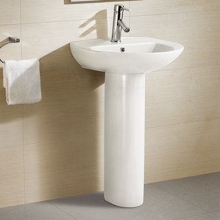 Swiss Madison Pedestal Bathroom Sink Round with Single Faucet Hole