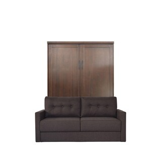 Queen Andrew Sofa-Murphy Bed in Cappuccino Finish and Scotts Highland Fabric