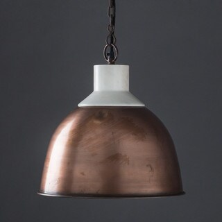Handmade Wallace Copper and Marble Top Hanging Lamp (India)