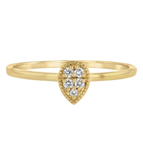 14k Gold 0.07ct TDW Diamond Teardrop Stackable Band Ring by Beverly Hills Charm - White H-I