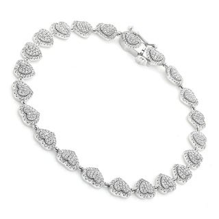 Luxurman 14K Gold Women's Diamond Heart Bracelet 1.1ct