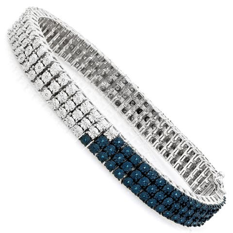 Luxurman White Blue Diamond Bracelet for Men 0.5ct Sterling Silver