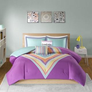 Intelligent Design Presley Purple Printed 5-piece Comforter Set