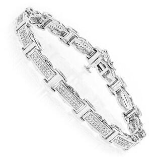 Luxurman Ladies Diamond Bracelet in Sterling Silver 0.22ct